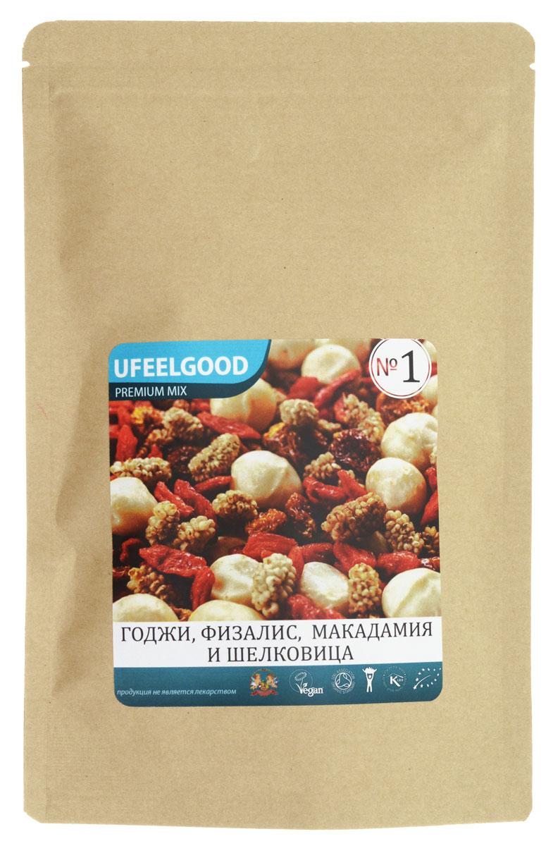 UFEELGOOD Premium Mix №1 (годжи, физалис, макадамия, шелковица), 100 г85Трейл-микс UFEELGOOD Premium Mix №1 (годжи + физалис + макадамия + шелковица) – это уникальная смесь ягод и орехов. Она состоит из наиболее редких, но необходимых организму полезных веществ. Годжи. Эта ягода богата цинком, йодом и другими элементами. Улучшает качество крови и снижает риск образования раковых опухолей. Физалис. Полезная ягода, утоляет боль и борется с воспалениями. Богата витаминами А, С, биофлавоноидами. Улучшает память и состояние кожи. Макадамия. Редкий австралийский орех. Содержит цинк, селен и другие ценные элементы. Улучшает память. Шелковица. Ягода, которая содержит большое количество калия, кальция, витаминов, микроэлементов, макроэлементов. Это кладезь, который обогащает организм человека антиоксидантами, помогает работе сердца.