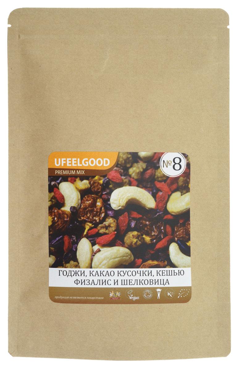 UFEELGOOD Premium Mix №8 (кешью, годжи,шелковица, кусочки какао боба, физалис), 100 г92Трэйл-микс UFEELGOOD Premium Mix №8 – смесь из высокопитательных супер-продуктов, которая прекрасно подходит в качестве закуски. Главными ингредиентами этого Трэйл-микса являются ягоды и какао. Древние кочевники первыми оценили преимущества Трэйл-миксов – мощные растительные продукты удобны для транспортировки, не требуют приготовления и обеспечивают организм необходимой энергией. Сегодня Трэйл-миксы – это высокоэффективный продукт, являющийся усовершенствованным вариантом фруктовой смеси. Мы позаботились о том, чтобы соединить самые мощные и вкусные натуральные продукты. Каждый ингредиент смесей сам по себе является уникальным супер-продуктом, а комплекс таких супер-продуктов гораздо полезнее каждого отдельного компонента. Любой из предлагаемых Трэйл-миксов – это прекрасный источник энергии, антиоксидантов и питательных веществ. Трэйл-микс – это идеальный энергетик для современных путешественников и искателей приключений, которым можно перекусить в течение насыщенного...