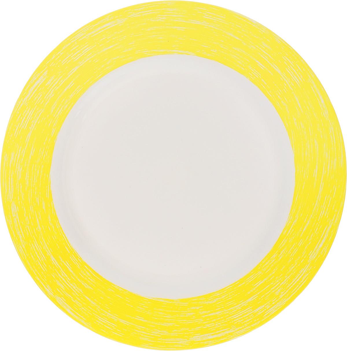 Тарелка обеденная Luminarc Color Days Yellow, диаметр 24 смL1518Обеденная тарелка Luminarc Color Days Yellow, изготовленная из высококачественного стекла, имеет изысканный внешний вид. Яркий дизайн придется по вкусу и ценителям классики, и тем, кто предпочитает утонченность. Тарелка Luminarc Color Days Yellow идеально подойдет для сервировки стола и станет отличным подарком к любому празднику. Диаметр (по верхнему краю): 24 см.