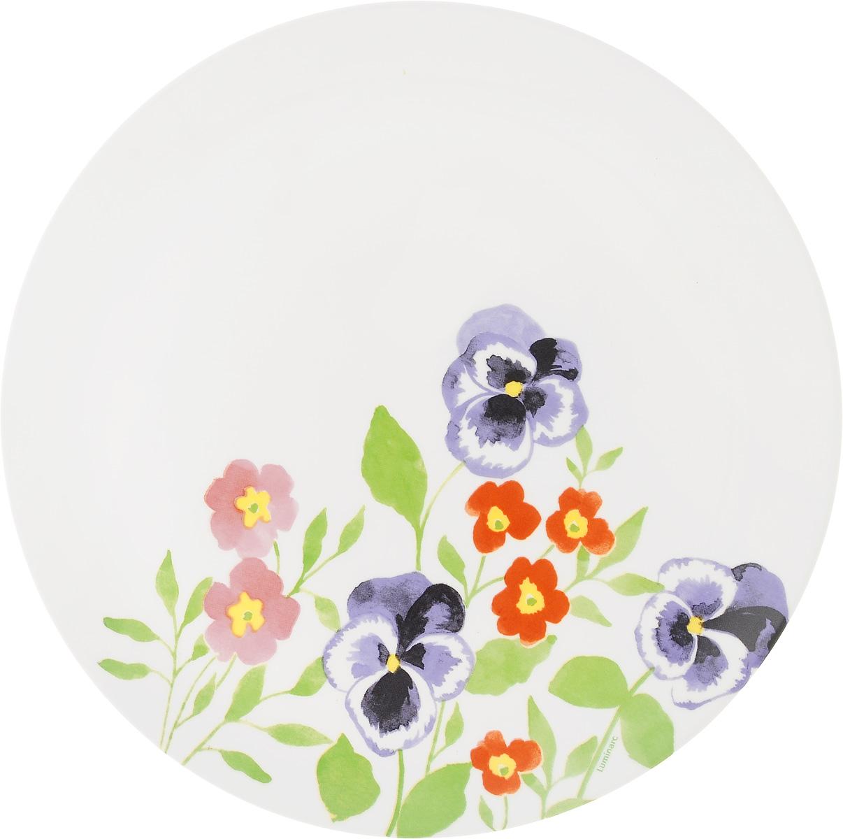 Тарелка обеденная Luminarc Magda, диаметр 27,5 смH8578Обеденная тарелка Luminarc Magda, изготовленная из ударопрочного стекла, имеет изысканный внешний вид. Яркий дизайн придется по вкусу и ценителям классики, и тем, кто предпочитает утонченность. Тарелка Luminarc Magda идеально подойдет для сервировки вторых блюд из птицы, рыбы, мяса или овощей, а также станет отличным подарком к любому празднику. Диаметр тарелки (по верхнему краю): 27,5 см.