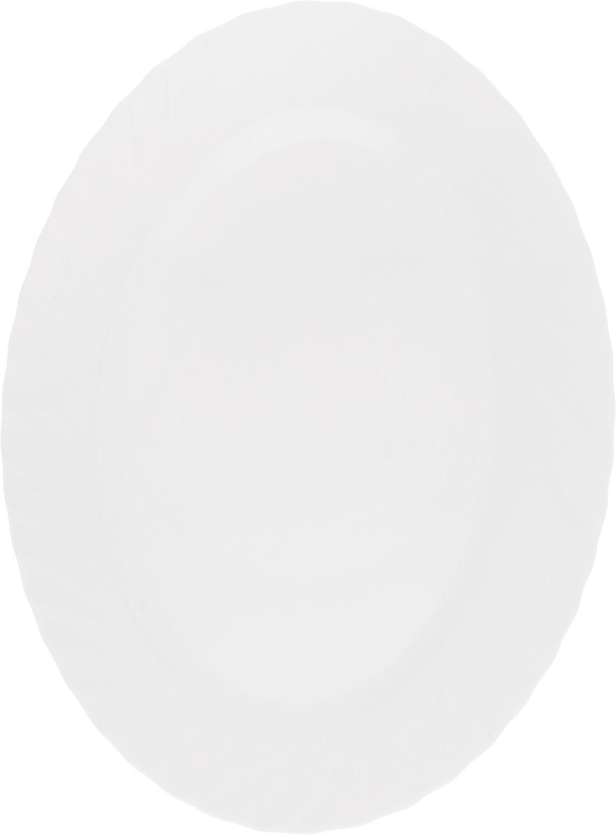 Блюдо Luminarc Trianon, 35 х 26 смE9667Оригинальное блюдо Luminarc Trianon изготовлено из ударопрочного стекла и имеет овальную форму. Оно доставит истинное удовольствие ценителям прекрасного. Яркий дизайн, несомненно, придется вам по вкусу. Размер блюда (по верхнему краю): 35 х 26 см.