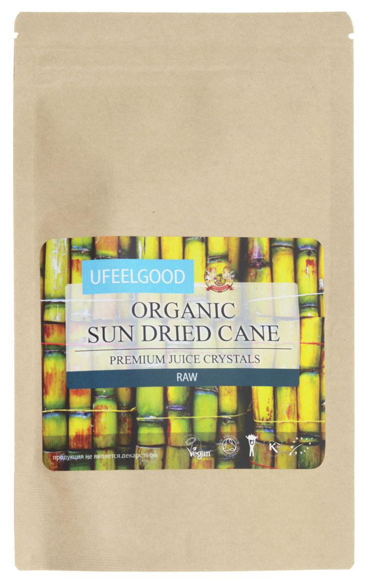 UFEELGOOD Organic Sun Dried Cane Juice Cristal сок сахарного тросника высушенный на солнце, 100 г076Сырые органические высушенные кристаллы сока сахарного тростника от UFEELGOOD — здоровая альтернатива сахару - рафинаду. Хотя оба подсластители сделаны из сахарного тростника, сушеные кристаллы сахарного тростника не подвергаются той же степени обработки, что рафинированный сахар. Поэтому, в отличие от рафинированного сахара, они сохраняют большую часть питательных веществ, которые содержатся в сыром органическом тростниковом сахаре. Сгущенные кристаллы тростникового сока можно использовать так же, как сахар — для подслащивания продуктов питания и напитков, а также в кулинарии. Так как они считаются более полезными, они также используются в качестве подсластителя в обработанных, натуральных продуктах питания . Высушенный на солнце сок сахарного тростника можно, по желанию, добавить к сырым рецептам шоколада, натуральным напиткам, коктейлям, выпечке, кофе, чаю, йогуртам, молочным продуктам и многим другим блюдам!