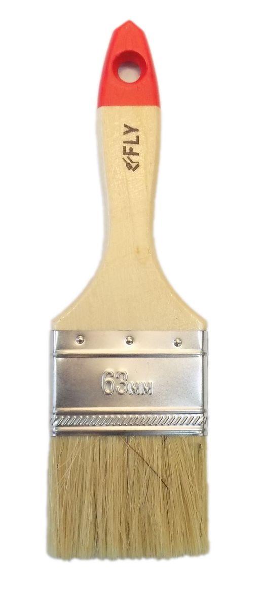 Кисть малярная Fly Standard, плоская, натуральная щетина, ширина 63 мм02-063Плоская кисть Fly Standard применяется для малярных работ с олифой, древесным маслом и другими ЛКМ. Для экономии места при хранении предусмотрено специальное отверстие для подвеса. Ширина кисти: 63 мм.