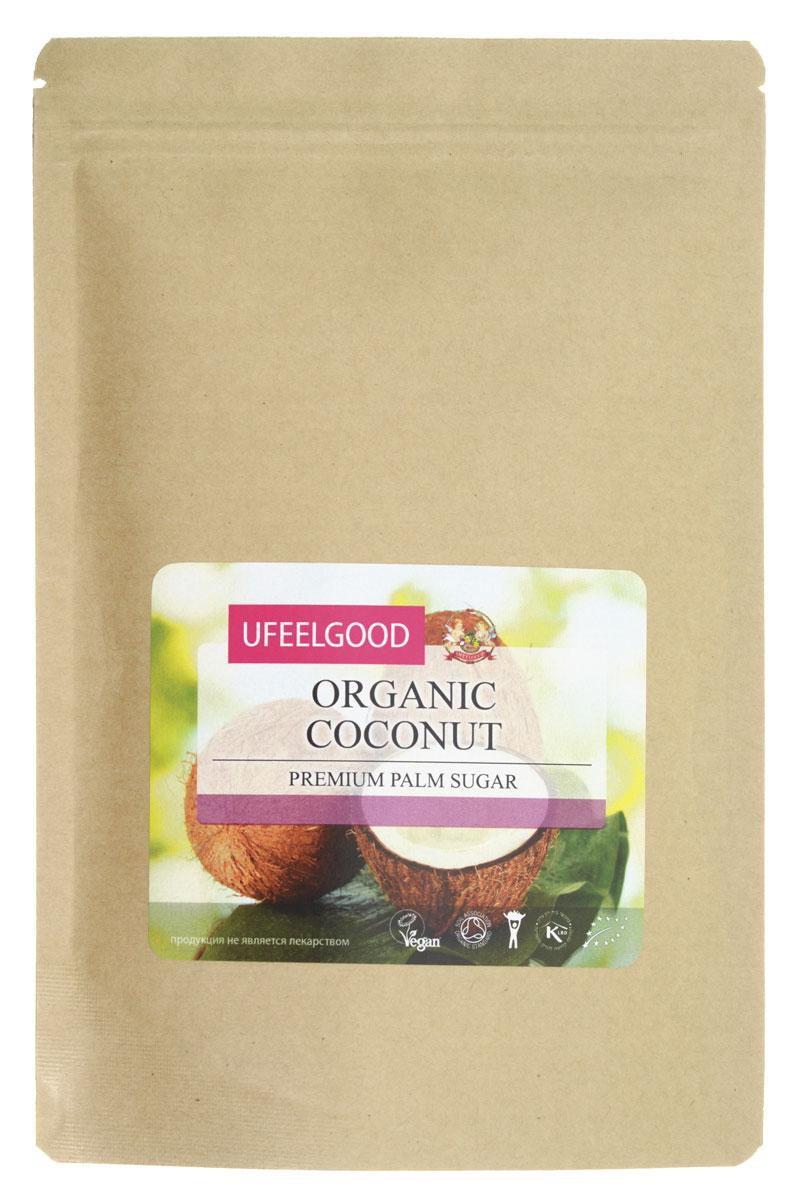 UFEELGOOD Organic Coconut Palm Sugar органический сахар кокосовой пальмы, 200 г075Сахар – один из тех продуктов, без которых сложно представить наш ежедневный рацион. Выпечка, десерты, сладости – все это создано с использованием сахара и без него имело бы совершенно иной вкус. К сожалению, сахар – еще и опасный продукт, поскольку его регулярное употребление может спровоцировать возникновение сахарного диабета, лишнего веса, проблем с зубами. Но не спешите расстраиваться, дорогие сладкоежки! Ведь чтобы избежать этого, не нужно отказываться от любимых блюд, просто поменяйте вредные сахара на органический натуральный подсластитель – кокосовый сахар. Полезные свойства кокосового сахара Кокосовый сахар от UFEELGOOD станет отличной, безопасной и вкусной альтернативой традиционному сахару. Сохраняя насыщенный вкус десертов и сладостей, продукт оказывает положительное влияние на организм, заряжая энергией и даря хорошее настроение. Полезные свойства такого органического сахара объясняются тем, что в его состав входит множество полезных веществ. ...