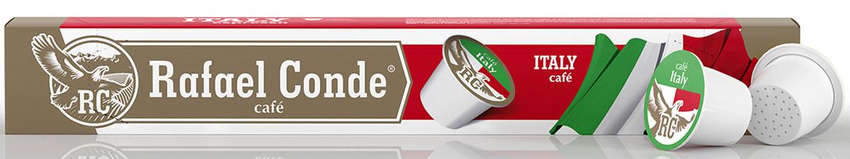 Rafael Conde Cafe Italy кофе в капсулах, 10 шт10566Кофе натуральный молотый в капсулах Rafael Conde Cafe Italy для использования в кофемашинах стандарта Nespresso. Бархатный вкус и насыщенный аромат с ярко выраженным послевкусием темного шоколада. Новая форма капсулы позволяет добиться максимальной экстракции ароматических масел.