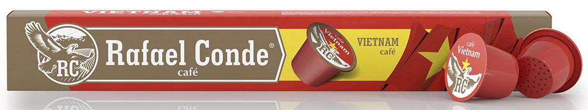 Rafael Conde Cafe Vietnam кофе в капсулах, 10 шт10561Кофе натуральный молотый в капсулах Rafael Conde Cafe Vietnam для использования в кофемашинах стандарта Nespresso. Бодрящий аромат и насыщенный вкус с яркой горчинкой. Новая форма капсулы позволяет добиться максимальной экстракции ароматических масел.