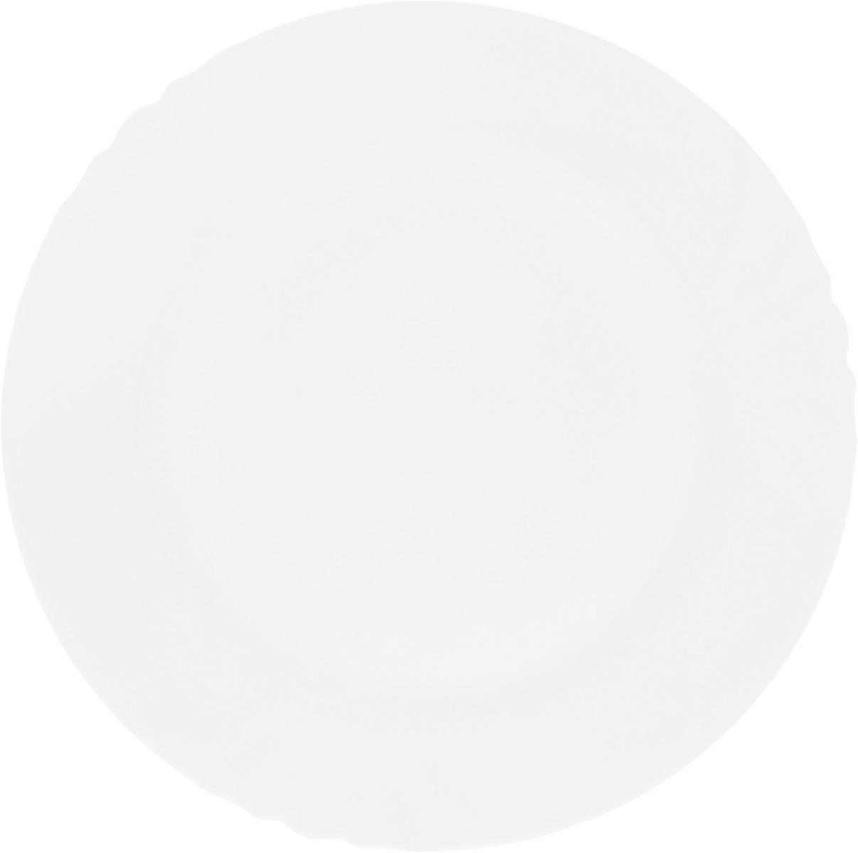 Тарелка обеденная Luminarc Cadix, диаметр 27.5 смD7380Обеденная тарелка Luminarc Cadix, изготовленная из ударопрочного стекла, имеет изысканный внешний вид. Яркий дизайн придется по вкусу и ценителям классики, и тем, кто предпочитает утонченность. Тарелка Luminarc Cadix идеально подойдет для сервировки вторых блюд из птицы, рыбы, мяса или овощей, а также станет отличным подарком к любому празднику. Диаметр тарелки (по верхнему краю): 27,5 см.
