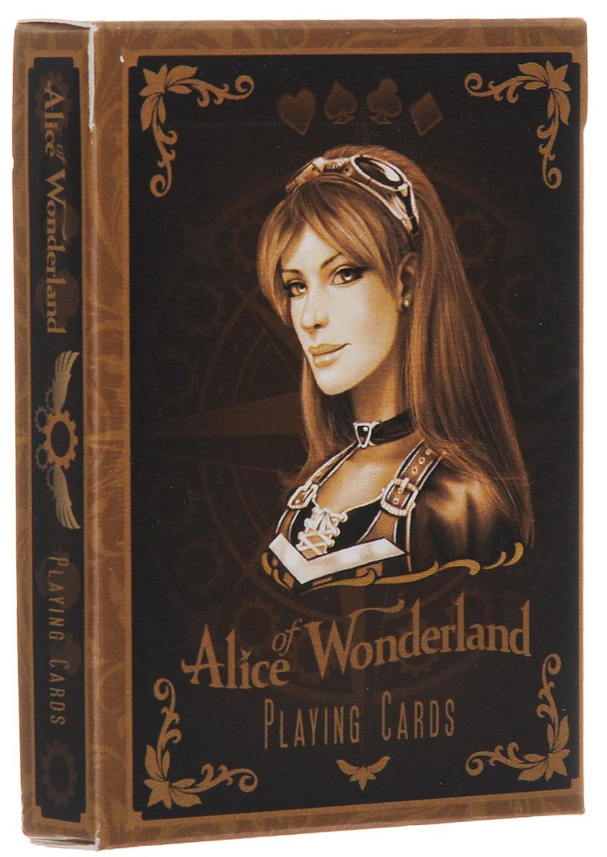 Карты игральные Gamblers Warehouse Alice Of Wonderland, 54 карты, цвет: коричневый, золотойК-480Колода карт Gamblers Warehouse Alice Of Wonderland посвящена известной сказке об Алисе в стране чудес. Каждая карта будет напоминать вам об известных героях. По-настоящему сказочный дизайн перенесет вас в эпоху чудес и прошлого времени. Комплектация: 54 карты. Размер карты: 6 х 9 см.