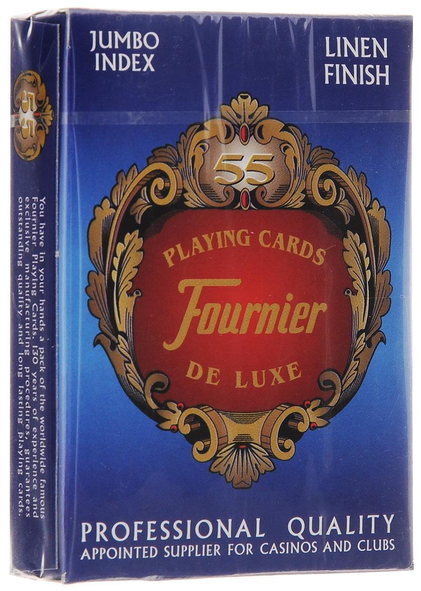 Профессиональные игральные карты Fournier Linen Finish, 55 листов, цвет: синийК-514_синийКарты Fournier Linen Finish с цветной рубашкой подходят для профессиональных игроков в покер и другие карточные игры. Они имеют очень гладкую поверхность, высококачественное покрытие и стандартный покерный размер. Комплектация: 55 карт. Размер карты: 6,4 х 8,9 см.
