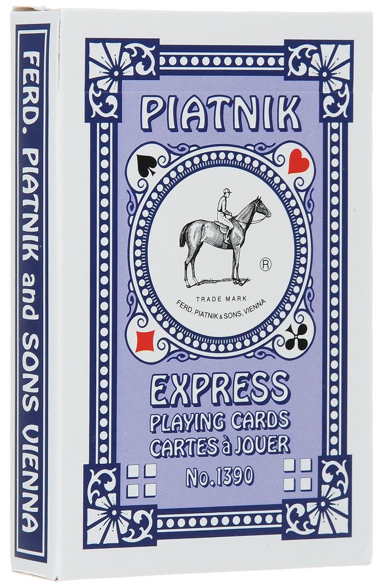 Профессиональные игральные карты Piatnik Express, 55 листов, цвет: синий1390_синийКарты Piatnik Express с цветной рубашкой подходят для профессиональных игроков в покер и другие карточные игры. Они имеют очень гладкую поверхность, высококачественное покрытие и стандартный покерный размер. Комплектация: 55 карт. Размер карты: 5,8 см х 8,9 см.