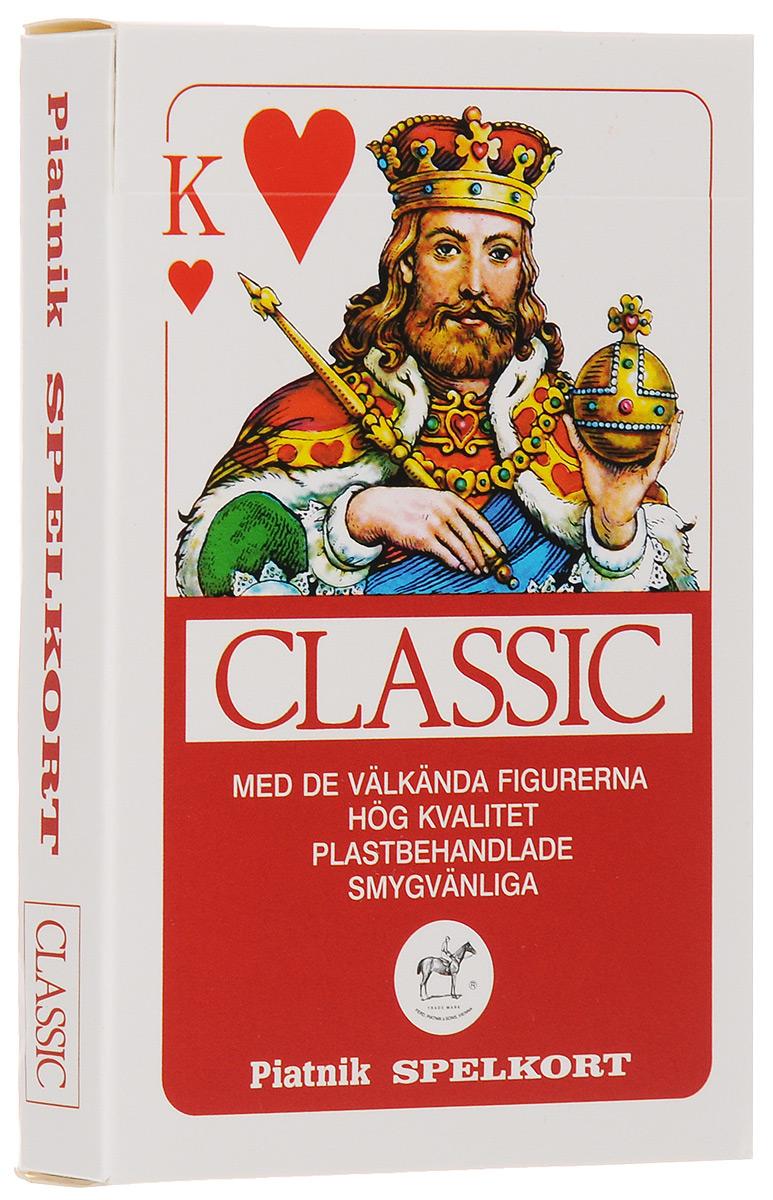 Профессиональные игральные карты Piatnik Classic, 55 листов, цвет: красный1458_красныйКарты Piatnik Classic с цветной рубашкой подходят для профессиональных игроков в покер и другие карточные игры. Они имеют очень гладкую поверхность, высококачественное покрытие и стандартный покерный размер. Комплектация: 55 карт. Размер карты: 5,8 х 8,9 см.