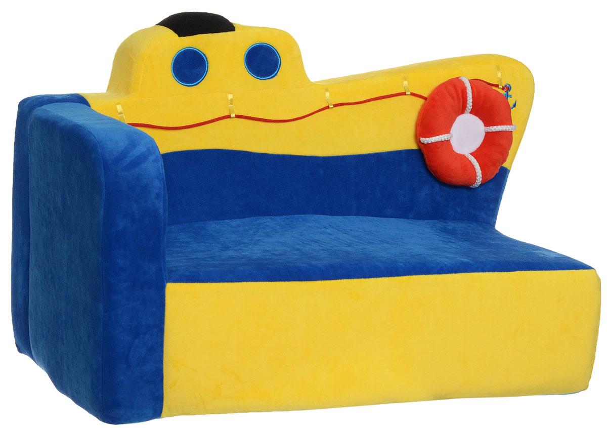 СмолТойс Мягкая игрушка Диван Пароходик 42 см1973/СН/61Мягкая игрушка СмолТойс Диван Пароходик отлично украсит любую детскую! Особенно он понравится тем малышам, которых манят морские путешествия. Пароходик имеет очень яркую желто-синюю окраску. По форме диванчик отлично подойдет для того, чтобы поставить его в угол комнаты. Он имеет только один подлокотник, а вторая его часть создана в виде выпирающего носа парохода. Диван украшен соответствующим декором: есть окна-иллюминаторы, якорь, подушка-спасательный круг. Диван создан из нетоксичных и качественных материалов, которые прошли проверку на безопасность для детей.