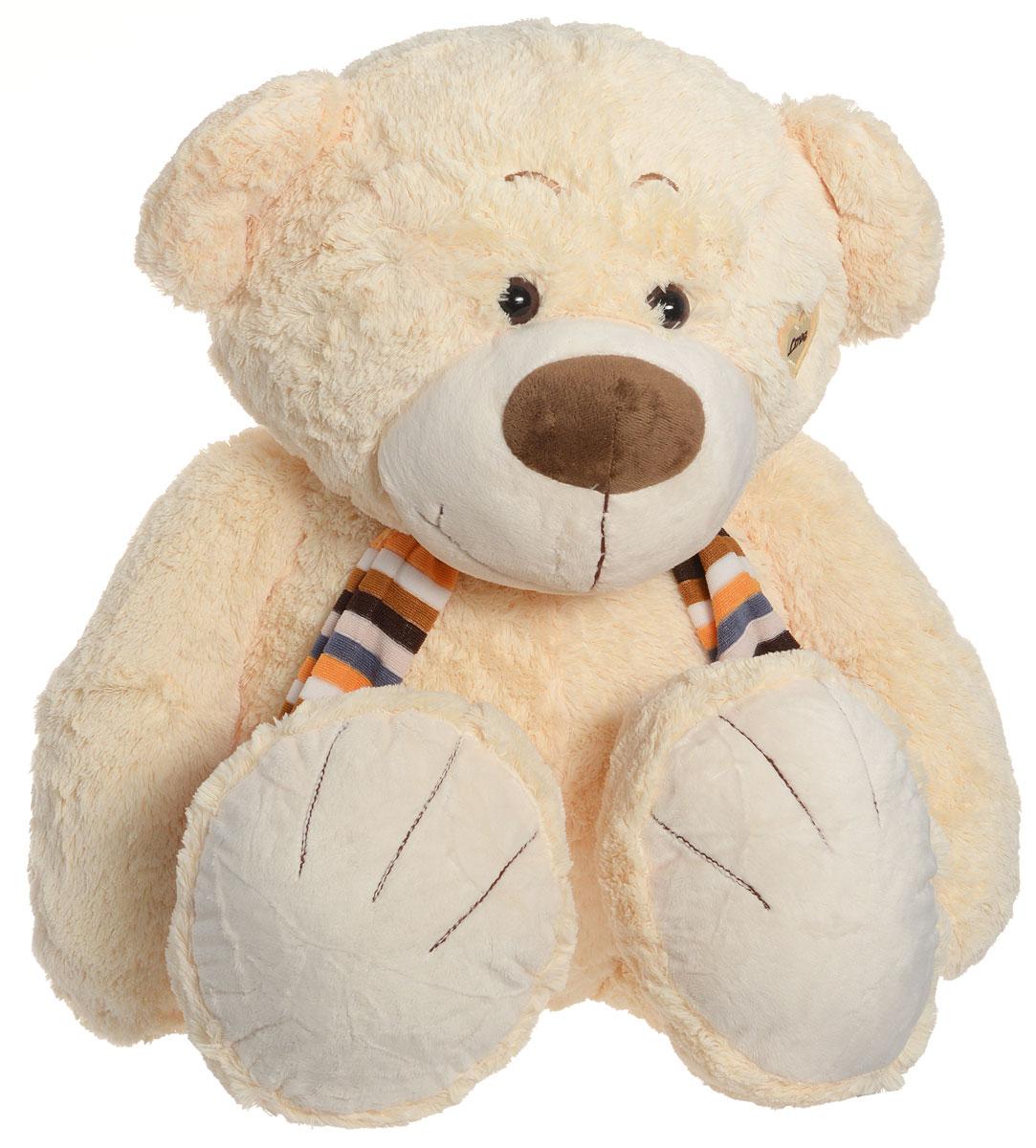 Magic Bear Toys Мягкая игрушка Медвежонок в шарфе цвет молочный 53 смSAL5217_молочныйМягкая игрушка Magic Bear Toys Медвежонок в шарфе, выполненная в виде очаровательного мишки в шарфике в полоску. Игрушка вызовет умиление и улыбку у каждого, кто ее увидит. У медвежонка пластиковые глазки, вышитые брови и аппликации в виде сердечек. Удивительно мягкая игрушка принесет радость и подарит своему обладателю мгновения нежных объятий и приятных воспоминаний. Она выполнена из экологически чистых материалов. Великолепное качество исполнения делают эту игрушку чудесным подарком к любому празднику.