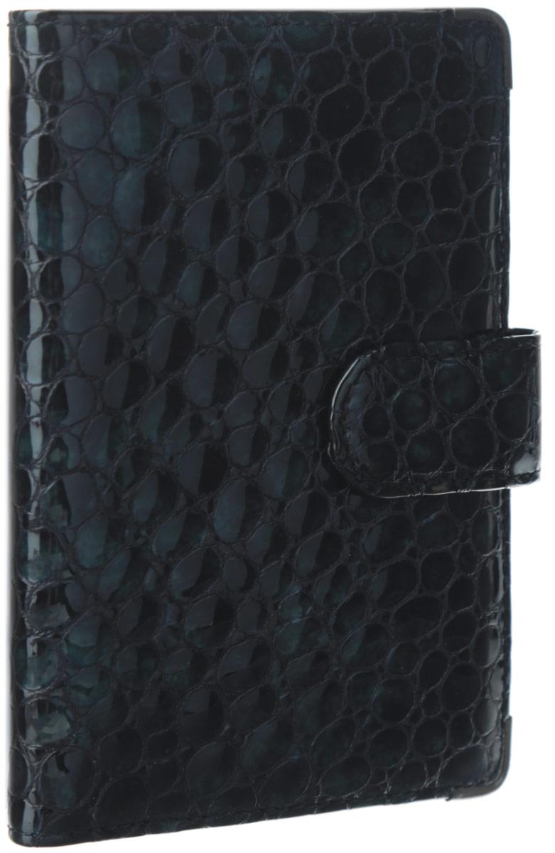 Обложка для документов женская Leo Ventoni, цвет: черно-зеленый. L330222-01L330222-01/blue pitonСтильная обложка для документов Leo Ventoni выполнена из натуральной лаковой кожи, оформленной тиснением под рептилию. Изделие раскладывается пополам и закрывается хлястиком на кнопку. Подкладка из полиэстера. Внутри размещены два боковых кармана для паспорта и четыре кармана для кредитных карт. Изделие поставляется в фирменной упаковке. Оригинальная обложка для документов Leo Ventoni станет отличным подарком для человека, ценящего качественные и практичные вещи.