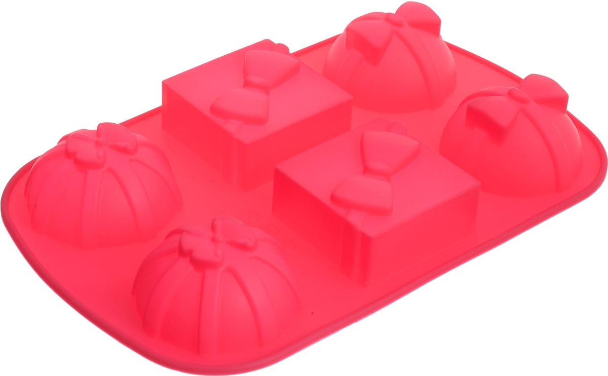 Форма для выпечки Marmiton Подарки, силиконовая, цвет: розовый, 27,5 х 17,5 х 3 см, 6 ячеек16083_розовыйФорма для выпечки Marmiton Подарки, выполненная из силикона в виде различных фигур будет отличным выбором для всех любителей бисквитов и кексов. Форма обладает естественными антипригарными свойствами. Неприлипающая поверхность идеальна для духовки, морозильника, микроволновой печи и аэрогриля. Готовую выпечку или мармелад вынимать легко и просто. С такой формой вы всегда сможете порадовать своих близких оригинальным изделием. Материал устойчив к фруктовым кислотам, может быть использован в духовках и микроволновых печах (выдерживает температуру от 230°C до - 40°C). Можно мыть и сушить в посудомоечной машине. Размер формы для выпечки: 27,5 х 17,5 х 3 см. Размер ячеек: 6,5 х 6,5 х 3 см; 7 х 7 х 3 см.
