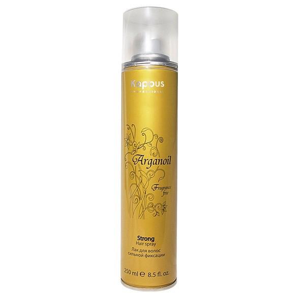 Kapous Лак аэрозольный для волос сильной фиксации с маслом арганы Arganoil 250 млKap849Серия «Fragrance free» не имеет парфюмированных добавок. Лак для волос сильной фиксации предназначен для создания подвижных и эластичных укладок. Благодаря уникальной формуле лак абсолютно сухой, обеспечивает мелкодисперсное распыление и надежную фиксацию. Масло Арганы придает волосам естественный блеск, предотвращает иссушение. УФ-фильтры защищают волосы от влияния окружающих факторов.