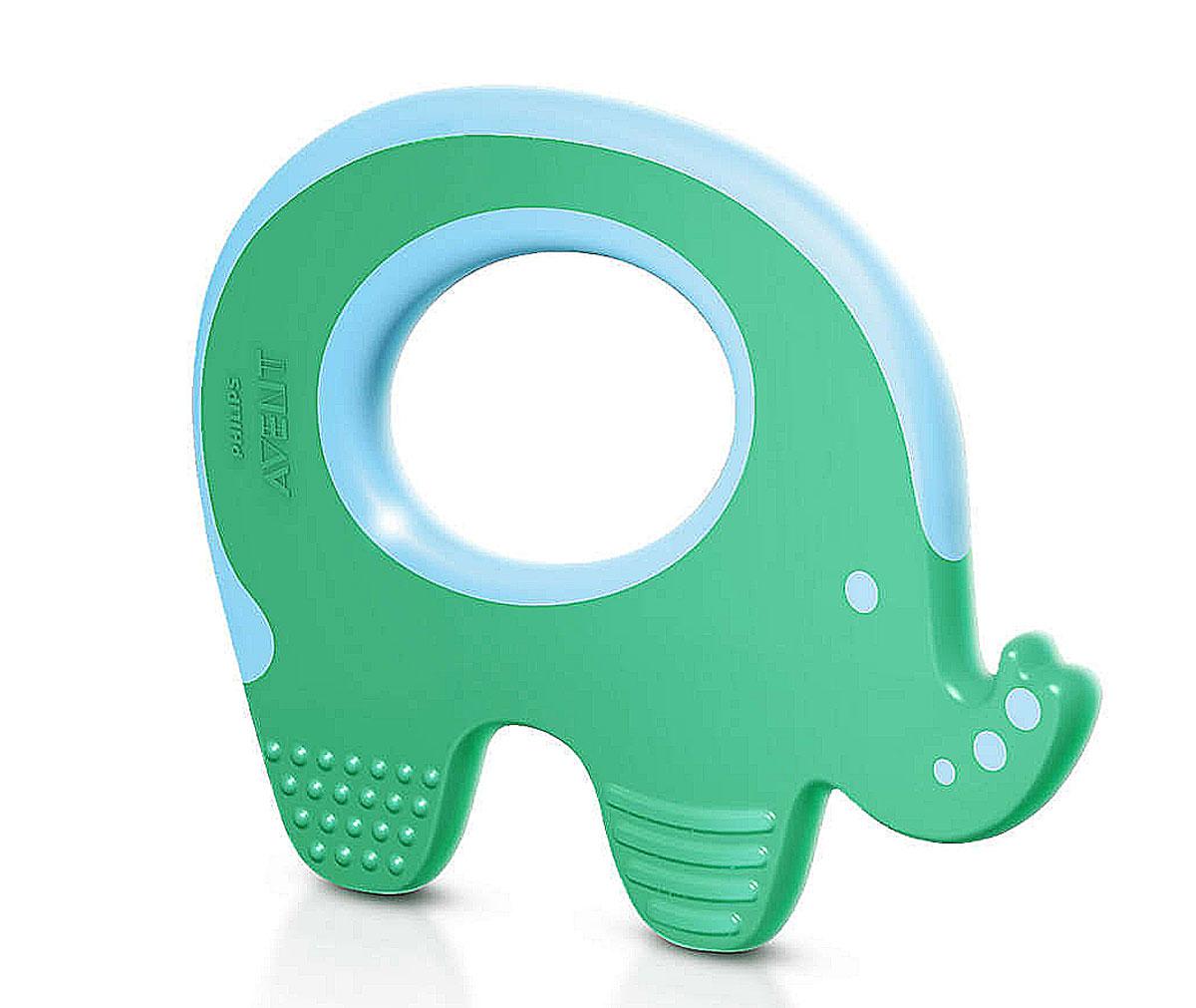 Philips Avent Прорезыватель Слоник SCF199/00SCF199/00Прорезыватель Philips Слоник смягчает боль и массирует десны при прорезывании зубов. Прорезыватель можно охладить в холодильнике - это максимально облегчит боль в деснах у малыша во время прорезывания зубов. Благодаря специальному дизайну и небольшому весу, малышу легко держать изделие в руках. Прорезыватель прост в использовании - ополосните водой или простерилизуйте. Не содержит бисфенол А.