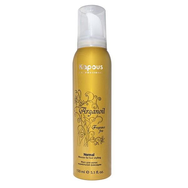 Kapous Мусс аэрозольный для волос нормальной фиксации с маслом арганы Arganoil 150 млKap16/852Серия «Fragrance free» не имеет парфюмированных добавок. Мусс для волос нормальной фиксации предназначен для всех типов волос. Фиксируя объем, делает любую прическу естественной, обеспечивает длительный результат. Масло Арганы придает волосам естественный блеск, предотвращает иссушение, защищает волосы от воздействия горячего фена и солнечных лучей.