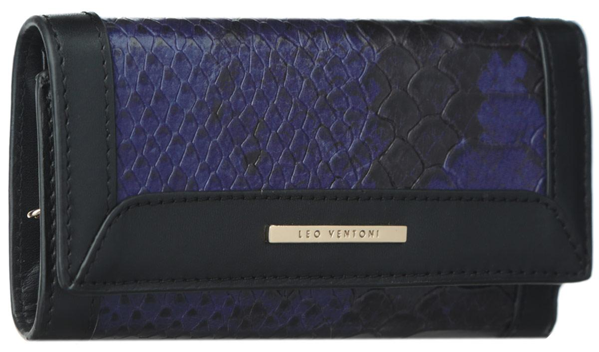 Ключница женская Leo Ventoni, цвет: черный, синий. L330805