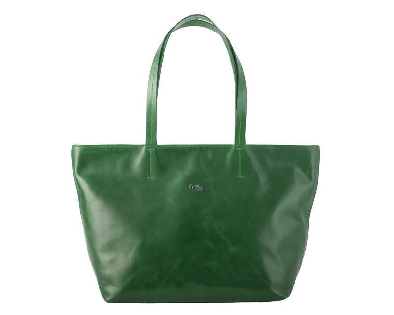 Сумка женская FRIJA, цвет: зеленый. 21-0050-1321-0050-13Изысканная женская сумка Frija, выполнена из качественной натуральной кожи. Сумка закрывается на застежку-молнию, оснащена двумя удобными ручками высотой 23см, благодоря этому модель удобно носить на плече. Внутри - большое отделение, втачной карман на застежке-молнии и два накладных кармашка для телефона, мелких бумаг. Изделие упаковано в фирменный чехол. Роскошная сумка внесет элегантные нотки в ваш образ и подчеркнет ваше отменное чувство стиля. Размеры: Д45 х Ш12 х В30