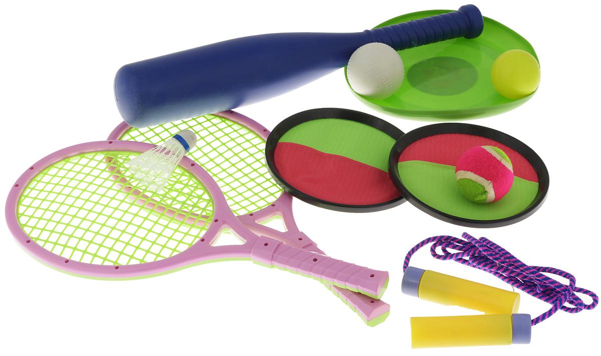 Набор для спорта Sport Set, мультицвет, 11 предметовZY1103Набор для спорта Sport Set прекрасно подойдет для детей, которые любят весело и активно проводить время. В набор входят две ракетки для тенниса и бадминтона, теннисный мяч, волан, скакалка, тарелка фрисби, бейсбольная бита, бейсбольный мяч, две тарелки-ловушки с липучками и мяч. Набор упакован в рюкзачок с двумя текстильными ручками, регулируемыми по длине. Спортивные игры развивают ловкость, силу, глазомер и быстроту реакции. Порадуйте своего непоседу таким замечательным подарком! Уважаемые клиенты! Обращаем ваше внимание на возможные варьирования в цветовом дизайне товара. Поставка осуществляется в зависимости от наличия на складе.