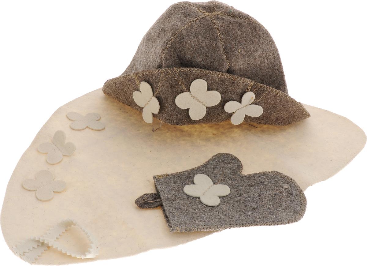 Набор детский для бани Proffi Бабочка, 3 предметаPS0243Детский набор для бани и сауны Proffi Бабочка, изготовленный из войлока, состоит из шапки, рукавицы и коврика. Коврик используется в качестве подстилки на пол или скамейки, он убережет вас от ожогов и воздействия на кожу высоких температур. Шапка - незаменимый атрибут в бане, она предотвращает сухость и ломкость волос, а также защищает от головокружения. Все предметы набора имеют специальную петельку для подвешивания. Такой набор поможет с удовольствием и пользой провести время в бане, а также станет чудесным подарком друзьям и знакомым, которые по достоинству оценят его при первом же использовании. Размер коврика: 51 х 34 см. Обхват головы: 68 см. Высота шапки: 19 см. Размер рукавицы: 17 х 14 см.