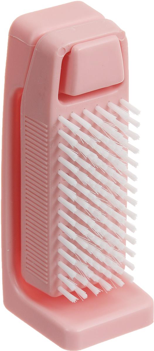 Щетка для рук Banat, с подставкой, цвет: розовый730266_розовыйДвухсторонняя щетка для рук и ногтей Banat изготовлена из пластика. Внешняя сторона с мягкой плотной щетиной. Внутренняя сторона с мягкой упругой длинной щетиной. Подставка крепится к стене на скотч-липучку. Такая щетка идеально ухаживает за вашими ногтями и руками. Размер щетки: 11 х 4 х 3 см. Длина щетины: 1 см. Размер подставки: 12,5 х 5 х 4 см.