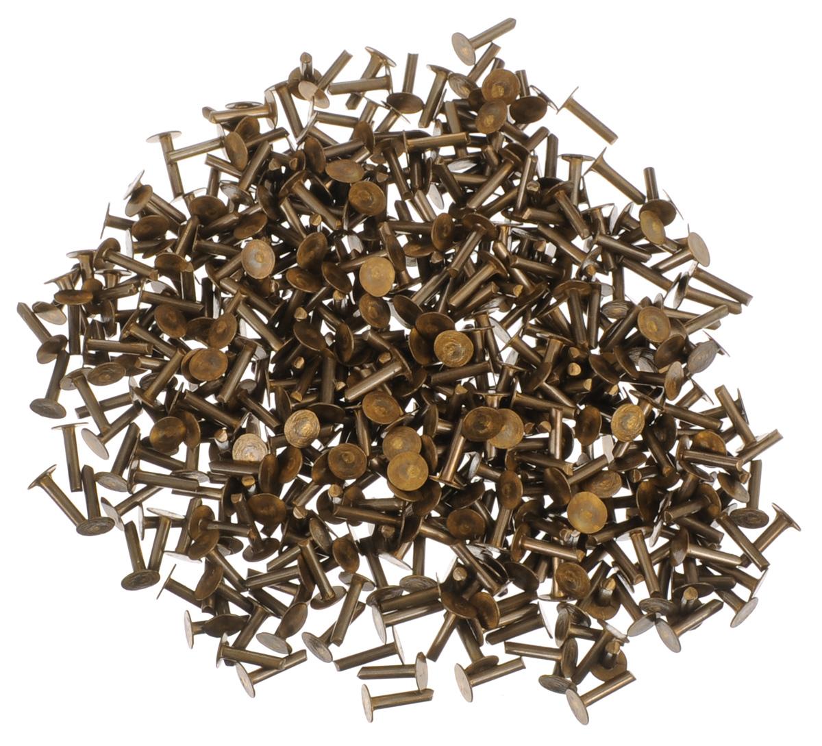 Заклепка Vintaj, с плоской шляпкой, длина 6 мм, 480 штRV010Набор Vintaj, состоящий из 480 заклепок,используется в изготовлении креативных авторских украшений, при изготовлении накладных элементов на крупные кабошоны или многомерные кулоны. Также можно использовать с разными материалами: металл, кожа, пластмасса и многое другое. Заклепки разнообразят вашу работу и добавят вдохновения для новых идей. Длина заклепки: 3 мм.