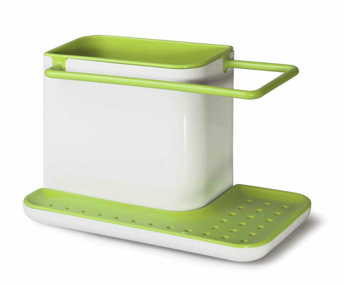 Подставка для кухонных принадлежностей Идея Mr. Чистоff, цвет: белый, зеленыйPDS-02_зелПодставка для кухонных принадлежностей Идея Mr. Чистоff поможет навести на кухне полный порядок и расставить все по своим местам. В ней найдется место для кухонной салфетки, моющего средства, ершика и губки. Подставка не только поможет вам держать под рукой необходимые для мытья посуды принадлежности, но и прекрасно подойдет к интерьеру любой кухни. Кухонную салфетку не большого размера можно повесить на рейлинг, где она быстрее высохнет, а губку для мытья посуды положить на решетку. Вся вода, которая будет стекать с моющих принадлежностей, соберется в специальном поддоне. Подставку можно расположить в любом удобном месте, при необходимости она легко разбирается и моется. Размер подставки: 21 х 11,5 х 13 см.