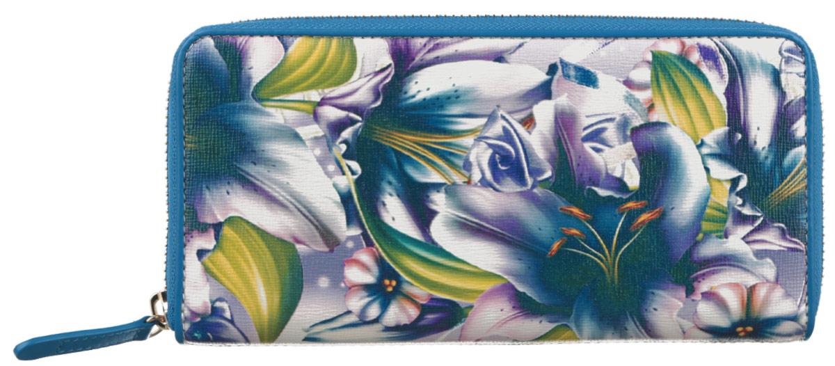 Кошелек женский Leo Ventoni, цвет: белый, синий, сиреневый, зеленый. L330760L330760 bianco/blueМодный женский кошелек Leo Ventoni выполнен из натуральной кожи, оформленной ярким цветочным принтом с одной из боковых сторон. Внутри - пять отделений для купюр, восемь кармашков для кредитных карт или визиток, отделение для монет на пластиковой молнии и карман с прозрачным пластиковым окошком. На лицевой стороне кошелек дополнен втачным кармашком для мелочи на пластиковой молнии. Кошелек застегивается на металлическую застежку-молнию. Изделие поставляется в фирменной упаковке. Кошелек Leo Ventoni станет отличным подарком для человека, ценящего качественные и практичные вещи.