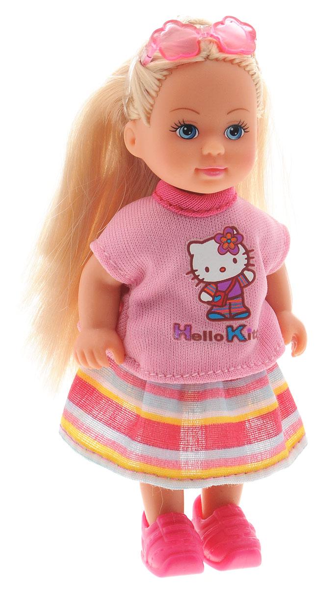 Simba Мини-кукла Еви цвет одежды розовый красный голубой5733512_розовый,красный,голубойМини-кукла Simba Еви порадует любую девочку и надолго увлечет ее. Малышка Еви одета в розовую футболку с изображением Hello Kitty и полосатую юбку. На голове у куколки очки-звездочки, а на ножках розовые ботиночки. Вашей дочурке непременно понравится заплетать длинные белокурые волосы куклы, придумывая разнообразные прически. Руки, ноги и голова куклы подвижны, благодаря чему ей можно придавать разнообразные позы. Игры с куклой способствуют эмоциональному развитию, помогают формировать воображение и художественный вкус, а также разовьют в вашей малышке чувство ответственности и заботы. Великолепное качество исполнения делают эту куколку чудесным подарком к любому празднику.