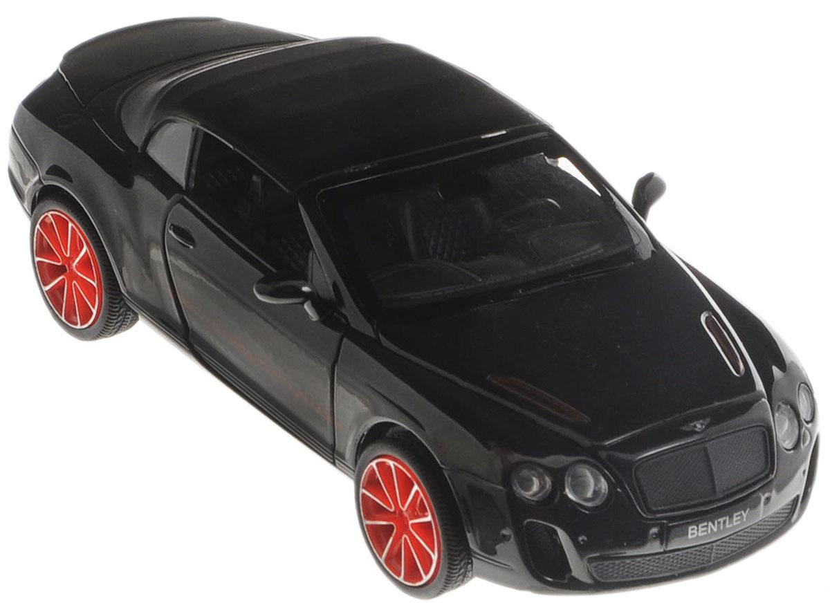 Пламенный мотор Модель автомобиля Bentley Continental цвет черный870117_черныйМодель автомобиля Пламенный мотор Bentley Continental - точная копия оригинальной машины в масштабе 1:32. Выполненная из высококачественного металла и пластика, она обязательно понравится не только ребенку, но и взрослому. Модель автомобиля имеет световые и звуковые эффекты. Дверцы машины, капот и багажник открываются, фары светятся, салон детализирован. Игрушка оснащена инерционным ходом. Для того, чтобы автомобиль поехал вперед, необходимо его отвести назад, а затем резко отпустить. Прорезиненные колеса обеспечивают надежное сцепление с любой поверхностью пола. Машинка является отличным подарком для юного гонщика. Во время игры с такой машинкой у ребенка развивается мелкая моторика рук, фантазия и воображение. Для работы игрушки необходимы 3 батарейки типа AG13 (товар комплектуется демонстрационными).