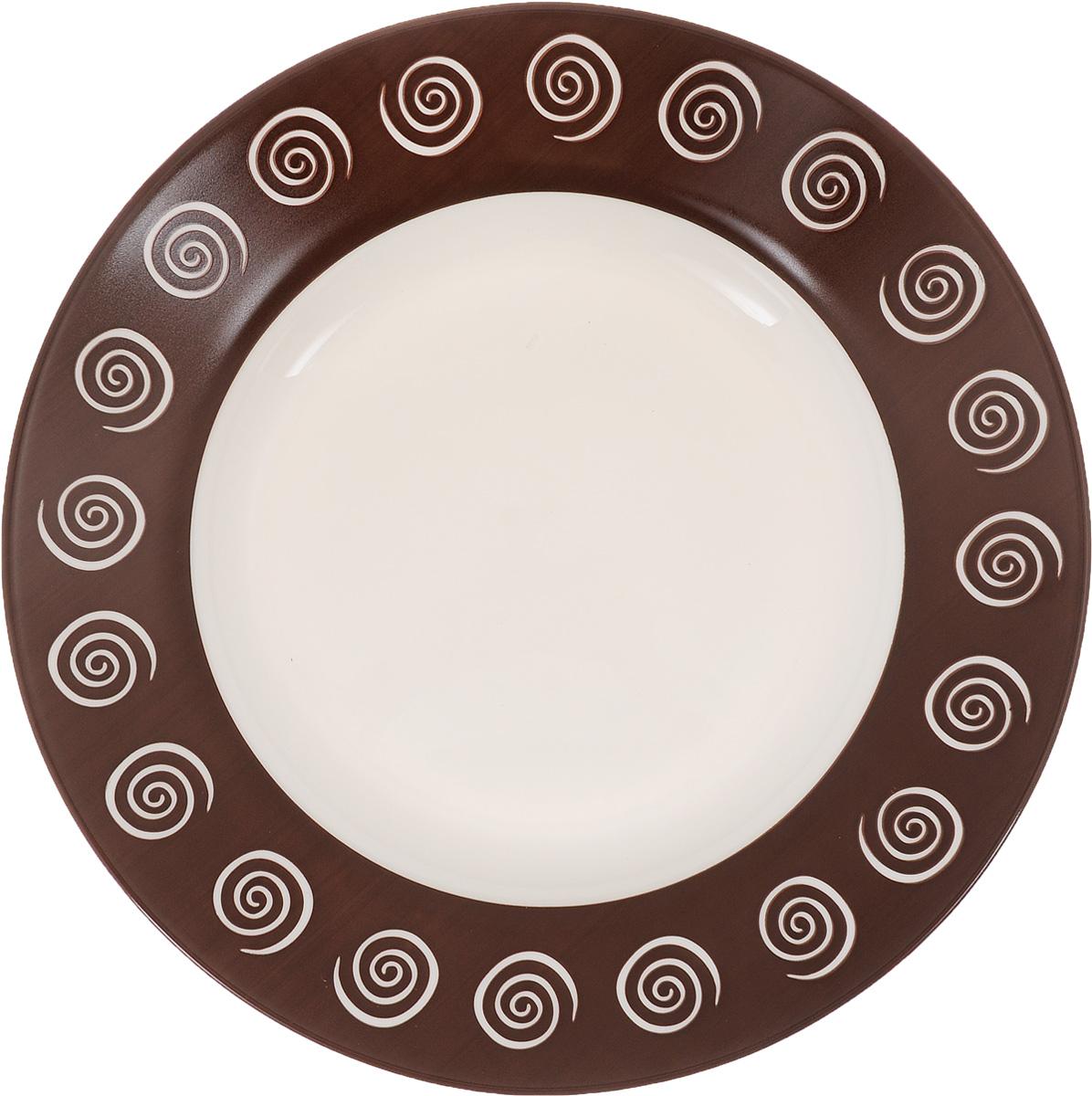 Тарелка глубокая Luminarc Sirocco, цвет: темно-коричневый, белый, диаметр 22 смH4886Глубокая тарелка Luminarc Sirocco выполнена из ударопрочного стекла и оформлена ярким рисунком. Изделие сочетает в себе изысканный дизайн с максимальной функциональностью. Она прекрасно впишется в интерьер вашей кухни и станет достойным дополнением к кухонному инвентарю. Тарелка Luminarc Sirocco подчеркнет прекрасный вкус хозяйки и станет отличным подарком. Диаметр (по верхнему краю): 22 см. Высота тарелки: 3 см.