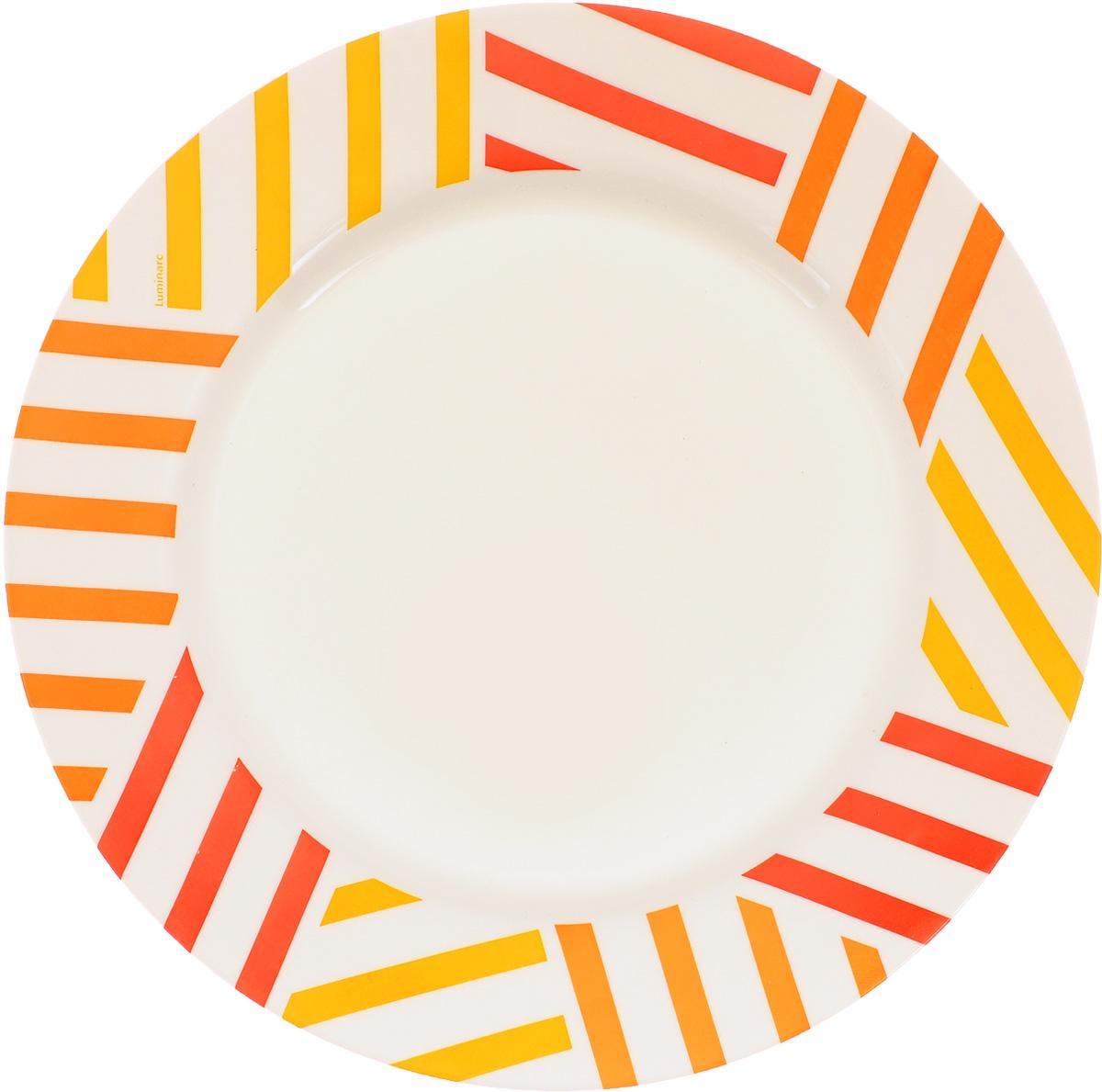 Тарелка Luminarc Balnea Sun, диаметр 26,5 смH7237Тарелка Luminarc Balnea Sun, изготовленная из ударопрочного стекла, декорирована оригинальным изображением. Такая тарелка прекрасно подходит как для торжественных случаев, так и для повседневного использования. Идеальна для подачи десертов, пирожных, тортов и многого другого. Она прекрасно оформит стол и станет отличным дополнением к вашей коллекции кухонной посуды. Диаметр тарелки (по верхнему краю): 26,5 см. Высота тарелки: 2,5 см.