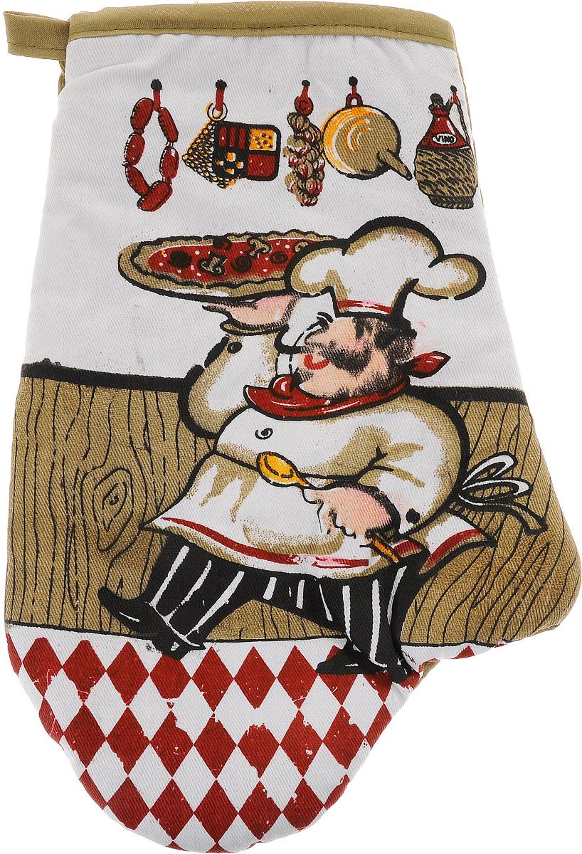 Варежка-прихватка Home Queen Повар, цвет: белый, красный, коричневый, 17 х 27 см57377_хаки поварВарежка-прихватка Home Queen Повар - незаменимый помощник на любой кухне. Варежка выполнена из натурального 100% хлопка и оформлена красивым рисунком в виде повара с лицевой стороны. Задняя сторона простегана, что позволяет наполнителю не скатываться со временем. Варежка мягкая, удобная и практичная. С ее помощью можно доставать горячие противни из духовки, она защитит ваши руки и предотвратит появление ожогов. Красочный дизайн позволит красиво дополнить интерьер кухни. С помощью петельки варежку можно подвесить на крючок.