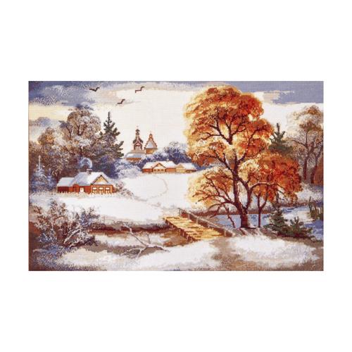 Набор для вышивания Hobby&Pro Первый снег, 49 х 31 см554046Набор для вышивания Hobby & Pro Первый снег поможет вам создать свой личный шедевр - красивую картину, вышитую нитками мулине в технике счетный крест. Работа, выполненная своими руками, станет отличным подарком для друзей и близких! В набор входит: - белая канва Aida 16 (6 клеток в см); - нитки мулине Bestex (35 цветов); - игла; - цветная схема; - инструкция на русском языке.