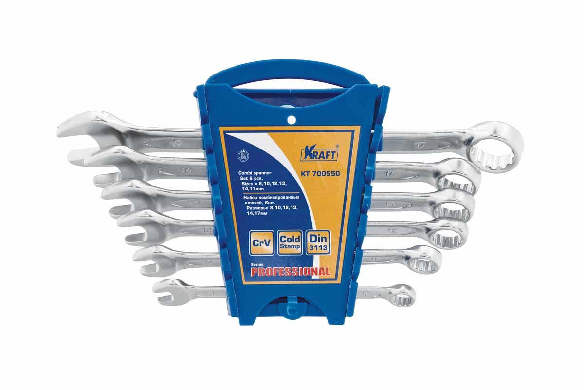 Набор комбинированных ключей Kraft набор 6шт: 8,10,12,13,14,17мм КТ 700550