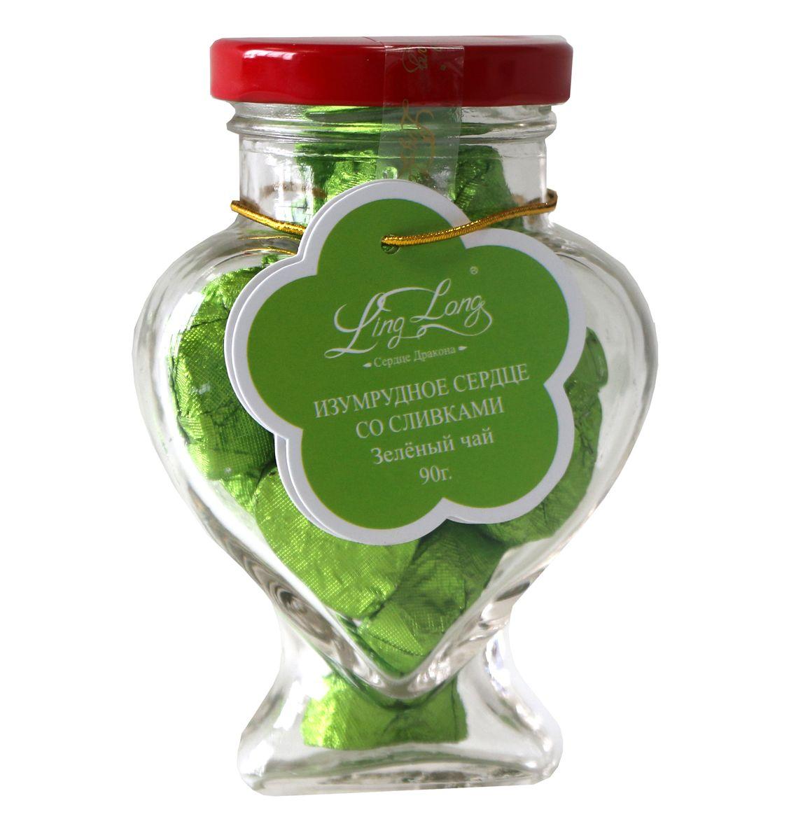 Ling Long Изумрудное сердце со сливками зеленый листовой чай, 90 г (стеклянная банка)LL502Чай зеленый байховый китайский крупнолистовой Ling Long Изумрудное сердце с ароматом сливок. Спрессован в форме сердечек. Такой чай станет отличным подарком друзьям или близким.