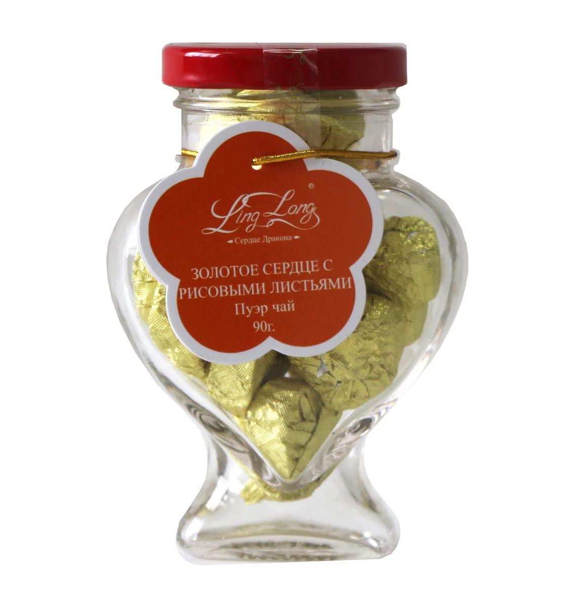 Ling Long Золотое сердце с рисовыми листьями черный листовой чай пуэр, 90 г (стеклянная банка)LL509Чай чёрный Пуэр байховый китайский крупнолистовой Ling Long Золотое сердце с рисовыми листьями. Спрессован в форме сердечка. Такой чай станет отличным подарком друзьям или близким.
