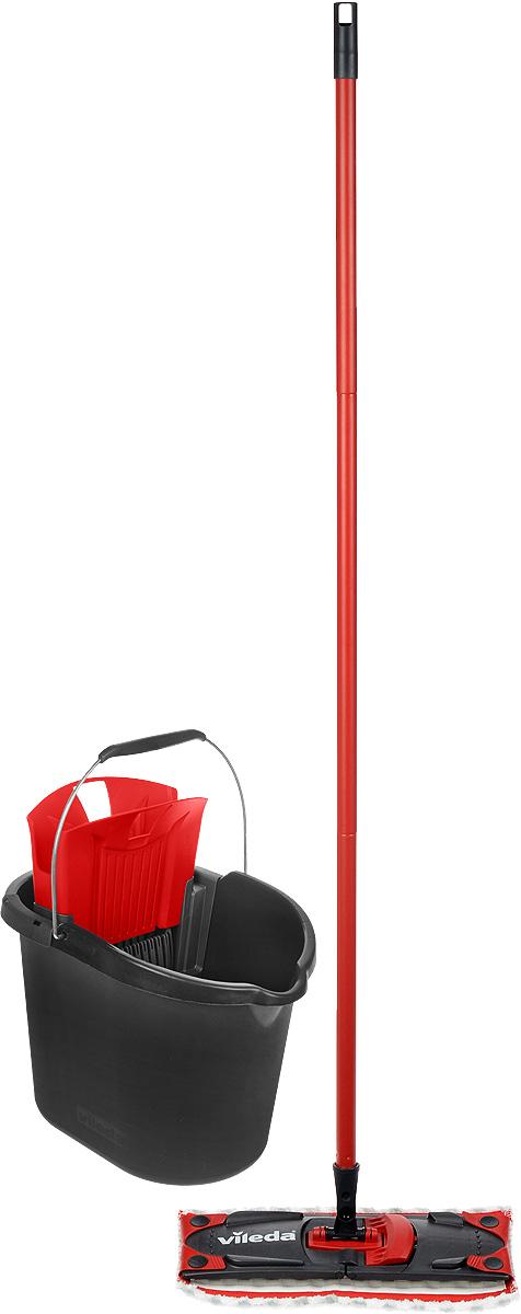 Набор для уборки Vileda Ultramat Microfibre, цвет: черный, красный, 2 предмета8137431_черный, красныйШвабра Vileda Ultramat Microfibre с насадкой из микрофибры широко используется для сухой и влажной уборки любых напольных поверхностей. Благодаря уникальным свойствам микрофибры сухая насадка легко удаляет пыль и в три раза лучше впитывает влагу, чем обычный хлопок. Подошва швабры складывается. Алюминиевая ручка удобно и надежно будет лежать в руке. Ручка разборная. Ведро Vileda Ultramat Microfibre, предназначенное для выжимания плоских швабр, порадует практичных хозяек. Изготовлено из крепкого, утолщенного пластика с металлической ручкой. Оно не опрокидывается и прослужит долго время. Набор Vileda Ultramat Microfibre - лучший помощник в доме! Длина швабры: 120 см. Размеры насадки: 35 х 10 х 1,5 см. Размеры ведра: 38 х 25 х 28 см.