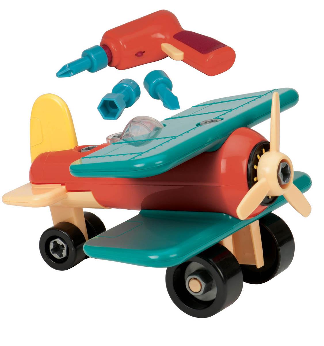 Battat Конструктор Разборный самолет цвет зеленый оранжевый68706_зеленый оранжевыйКонструктор Battat Разборный самолет обязательно привлечет внимание вашего малыша. Игрушка выполнена из прочного пластика ярких цветов. В комплект входит отвертка с 3 насадками и 21 элемент самолета-конструктора. При помощи пластиковой электрической отвертки игрушку можно разбирать и собирать множество раз, как конструктор. Пластиковая отвертка работает на батарейках, а насадки разной формы пригодятся для различных элементов самолета. Все элементы конструктора имеют увеличенные размеры и малыш сможет легко собрать их самостоятельно. Винт и колесики самолета вращаются. С такой игрушкой ваш ребенок весело проведет время, играя на детской площадке или в песочнице. А процесс сборки игрушки-конструктора поможет малышу развить мелкую моторику пальчиков, внимательность и усидчивость. Порадуйте своего малыша такой чудесной игрушкой! Для работы отвертки необходимы 2 батарейки типа АА (не входят в комплект).