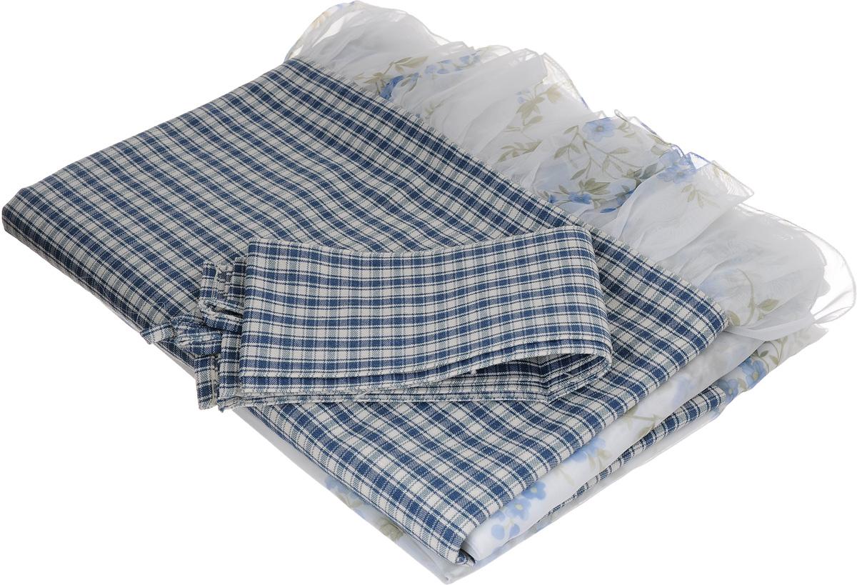 Комплект штор Kauffort Телос, на ленте, цвет: синий, белый, голубой, высота 185 смUN123010140_синий, белый, голубойКомплект штор Kauffort Телос, выполненный из полиэстера, великолепно украсит любое окно. Комплект состоит из двух штор, ламбрекена и двух подхватов. Шторы выполнены из вуали белого цвета с нежным цветочным рисунком. Ламбрекен выполнен из плотной клетчатой ткани и украшен воланом по нижнему краю. Шторы и ламбрекен оснащены шторной лентой для красивой сборки. Оригинальный дизайн и нежная цветовая гамма привлекут к себе внимание и органично впишутся в интерьер помещения. В комплект входит: Штора - 2 шт. Размер (Ш х В): 140 х 185 см. Ламбрекен - 1 шт. Размер (Ш х В): 285 х 42 см. Подхват - 2 шт. Размер (Ш х В): 7 х 70 см.