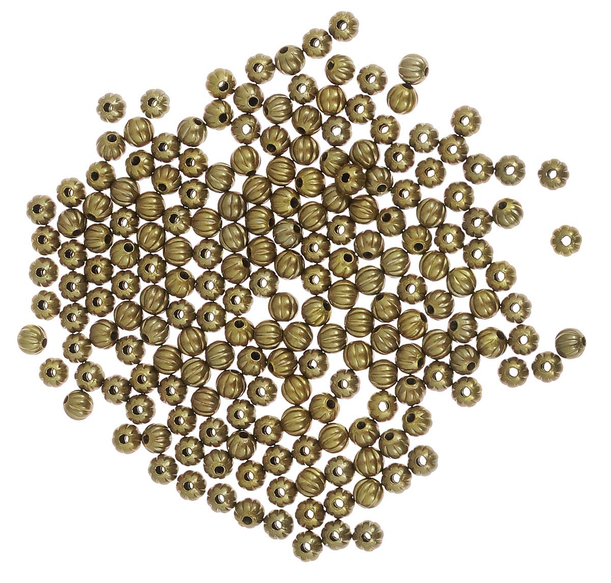 Набор бусин Vintaj Дыня, цвет: бронзовый, диаметр 3 мм, 288 штBD70Набор бусин Vintaj Дыня, изготовленный из металла, поможет вам своими руками создать удивительно красивое ожерелье или браслет. Каждая бусина имеет сквозное отверстие для продевания нити или лески. Набор состоит из 288 бусин шарообразной формы. Оригинальные бусины необычного дизайна разнообразят вашу работу и добавят вдохновения для новых идей. Отвлекитесь от повседневных забот и создайте удивительный аксессуар, который к тому же и стильно дополнит ваш образ. Диаметр бусин: 3 мм.