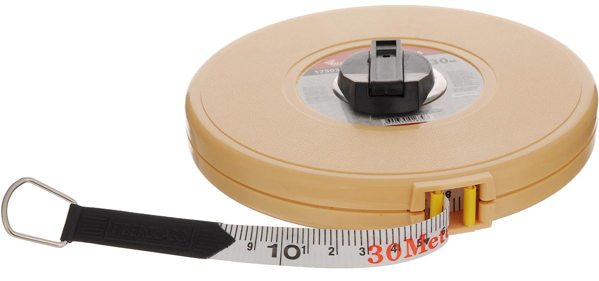 Рулетка геодезическая Курс, 30 м17503Круглая геодезическая рулетка Курс предназначена для измерения длины. Представляет собой фиброглассовую ленту с нанесёнными делениями. Катушка заключена в пластиковый корпус, снабжённый механизмом для сматывания ленты. Ширина ленты: 1,3 см. Длина ленты: 30 м. Размер рулетки: 15 х 15 х 3,5 см.