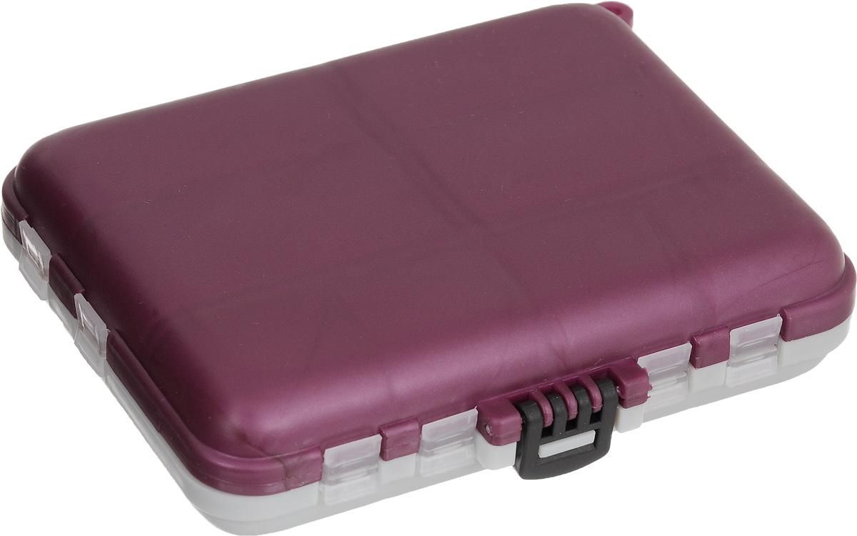 Органайзер для мелочей, двухсторонний, цвет: серый, бордовый, 12 х 10 х 3 см680266/8952818Удобная пластиковая коробка Три кита прекрасно подойдет для хранения и транспортировки различных мелочей. Коробка имеет 16 фиксированных секций. Удобный и надежный замок обеспечивает надежное закрывание коробки. Такая коробка поможет держать вещи в порядке. Размер малых секций: 2,7 х 2,5 см. Размер больших секций: 3 х 5,5 см. Размер коробки: 12 х 10 х 3 см.