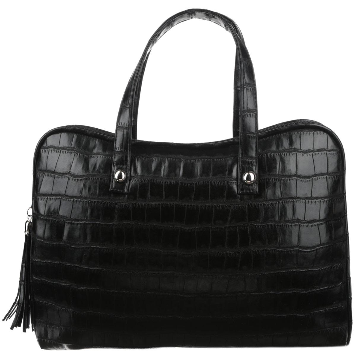 Сумка женская Antan, цвет: черный. 3-37/23-37/2Стильная сумка Antan изготовлена из искусственной кожи с блеском и оформлена тиснением под крокодила. Сумка создана для женщин, ценящих лаконичный дизайн в сочетании с функциональностью. Сумка содержит одно вместительное отделение с двумя нашивными небольшими карманами и закрывается на пластиковую застежку-молнию с фирменным брелоком-кистью. На задней стенке сумки врезной карман на молнии. Изделие оснащено двумя практичными ручками, которые дополнены декоративными металлическими элементами. Сумка носится на сгибе руки или в руке. Оригинальный аксессуар позволит вам завершить образ и быть неотразимой.