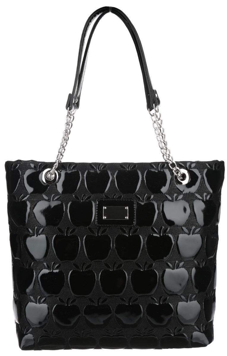 Сумка женская Antan, цвет: черный. 822822_черныйСтильная сумка Antan изготовлена из искусственной кожи с тиснением в виде яблок и декорирована нашивкой с металлическим элементом. Сумка создана для женщин, ценящих лаконичный дизайн в сочетании с функциональностью. Сумка содержит одно отделение и закрывается на пластиковую застежку-молнию. Внутри сумки врезной карман на пластиковой молнии и два нашивных небольших кармана. Изделие оснащено двумя практичными ручками, которые дополнены металлической фурнитурой. Оригинальный аксессуар позволит вам завершить образ и быть неотразимой.