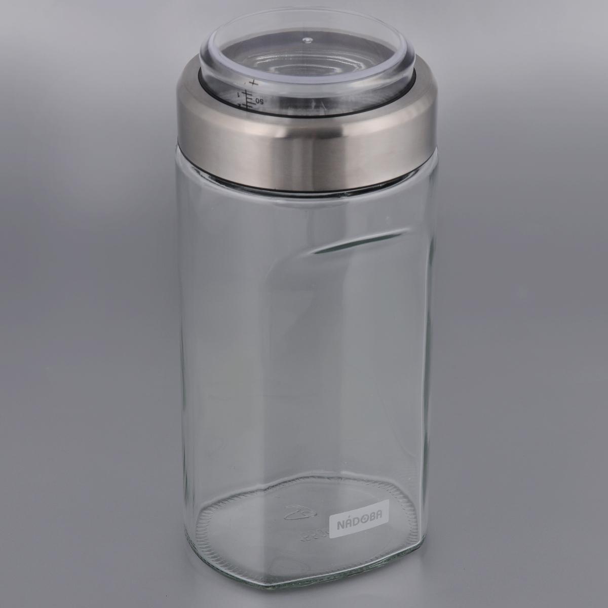 Емкость для сыпучих продуктов Nadoba Petra, с мерным стаканом, 1,15 л741012Емкость Nadoba Petra, изготовленная из высокопрочного стекла, оснащена мерным стаканом, который встроен в крышку. Благодаря эргономичному дизайну изделие удобно брать одной рукой. Стенки емкости прозрачные - хорошо видно, что внутри. Изделие идеально подходит для хранения различных сыпучих продуктов: круп, макарон, специй, кофе, сахара, орехов, кондитерских изделий и многого другого. Диаметр емкости (по верхнему краю): 9,5 см. Высота (без учета крышки): 16 см.