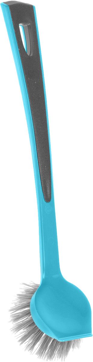 Щетка для мытья посуды Мир чистоты, со скребком, цвет: голубой, серый, длина 25 смSP8006Щетка Мир чистоты, изготовленная из полипропилена, предназначена для мытья посуды. Изделие оснащено эргономичной ручкой с удобным наклоном. Ворс обладает достаточной жесткостью для качественного мытья загрязненных поверхностей. Имеется скребок. Такая щетка позволит качественно и быстро помыть посуду. Длина щетки: 25 см. Дина ворса: 2,5 см.