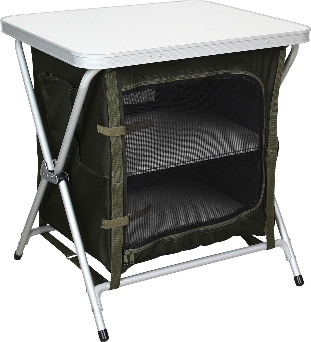 Стол кухонный складной Сплав. TR - 645060933Компактный быстро разборный кухонный стол Внутренний отсек для хранения посуды и еды закрывается на молнию Промежуточные полки из МДФ панелей в комплекте На задней стенке окно из сетки для вентиляции Минимальный объем в сложенном виде Удобная сумка для переноски Легкий складной столик и кухонная тумбочка в одном лице. Кемпинговая мебель упорядочивает быт и создает уют за считанные секунды. Максимальная нагрузка на этот стол: 30 кг, так что ешьте на здоровье и готовьте спокойно. Под столешницей располагаются удобные полки, а стенки из прочной легкой ткани надежно закрывают еду и посуду от пыли и посягательств лесных зверюшек. На задней стенке «тумбы» - вентиляционное окно затянутое сеткой от насекомых. Оно позволяет продуктам дольше оставаться свежими. Столешница и полки изготовлены из легких МДФ панелей, каркас – из алюминиевого сплава. Благодаря этому вся конструкция весит всего 5.1 кг. Упаковка тоже достаточно компактна - 62?50?8 см. ...